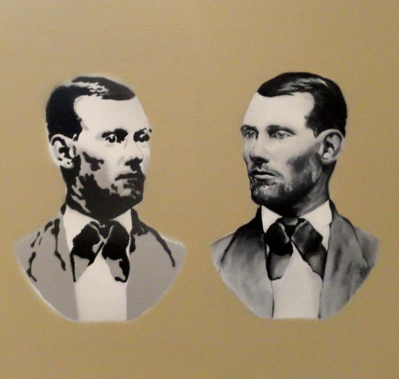 oil painting and stencil of Jesse James