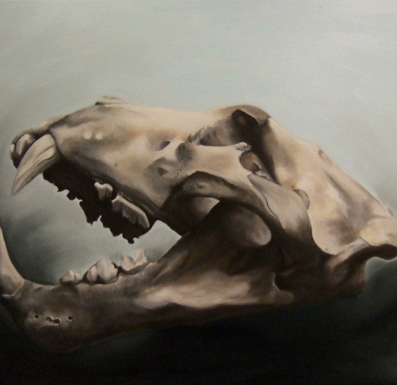 oil painting of a lion skull