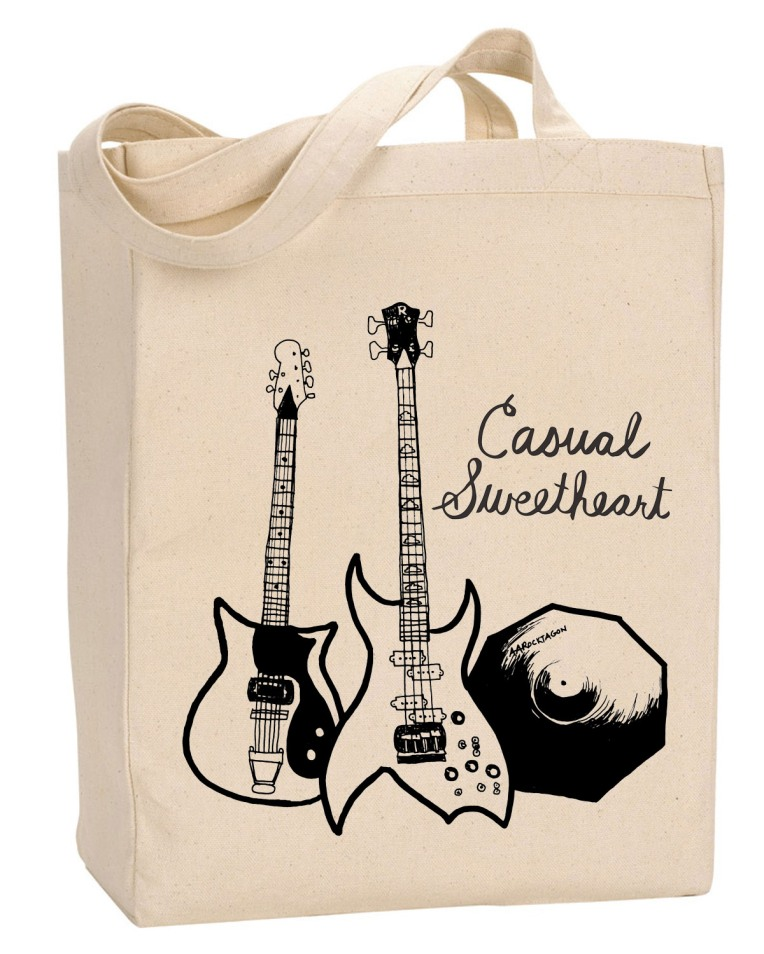 tote bag with guitars and cymbal