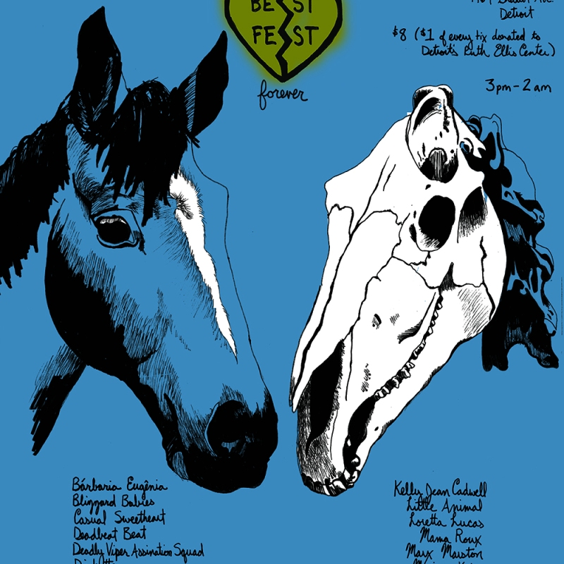 poster with horses, bff necklace and band names