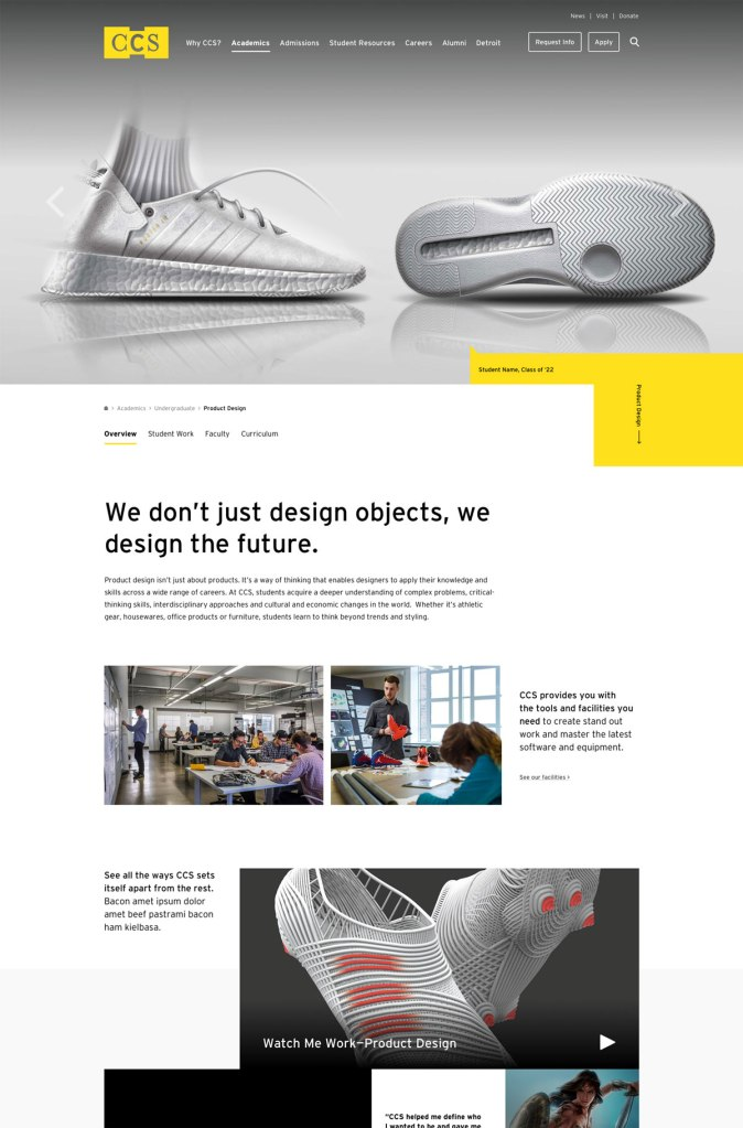 modern website with slider of a shoe showcasing product design