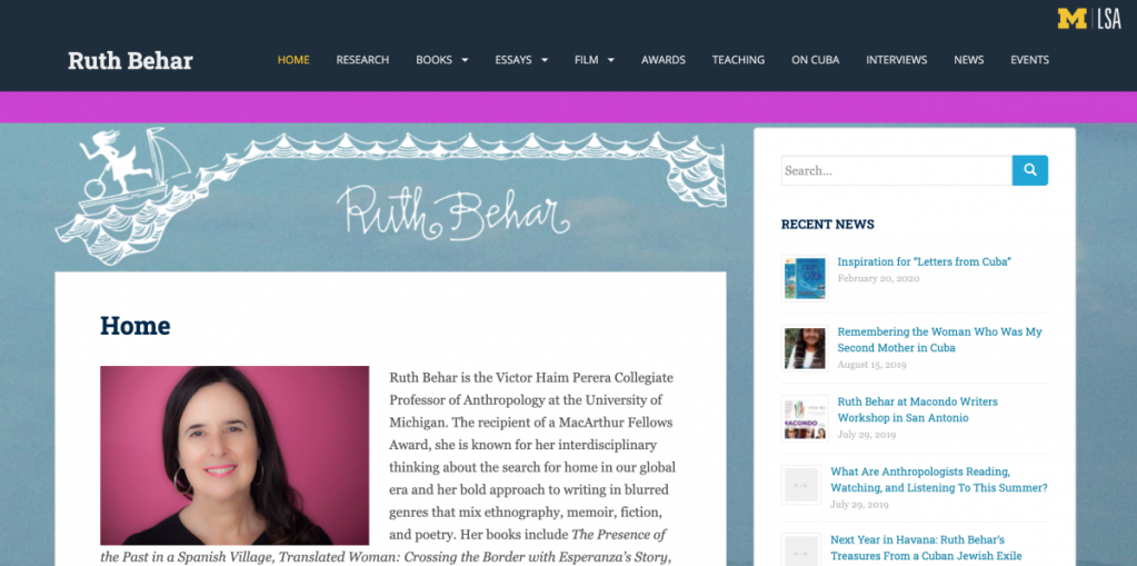 Website with a bio of Ruth Behar and news articles