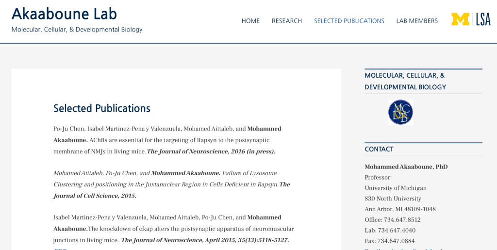Listing of publications on a molecular lab's website