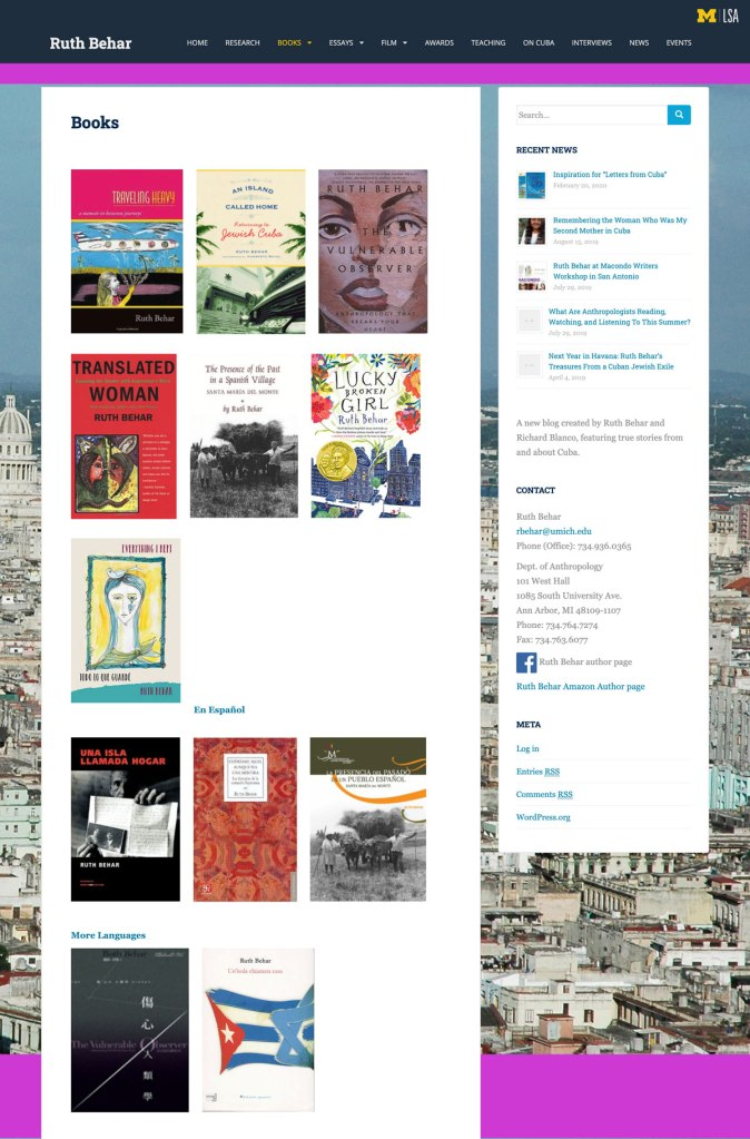 multiple book covers of Ruth Behar