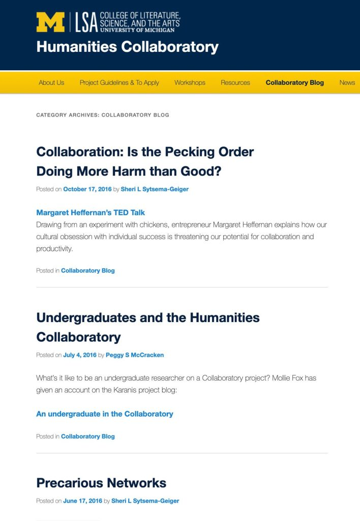 U-M branded lab website for humanities